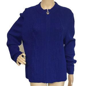 St. John Royal Blue Santana Knit Cardigan 16